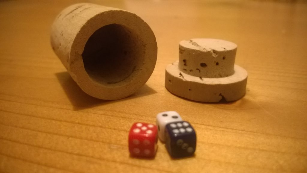 Promotional cork with dice: object of childhood fascination