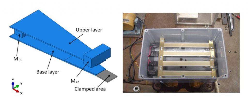 Model of a tapered piezoelectric vibration energy harvester, plus a multiple piezo fibre composite (PFC) vibration energy harvester