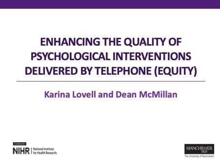 Psychological Wellbeing Practitioner workshops for EQUITy