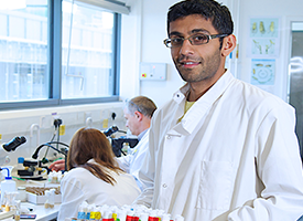 Sanjai Patel in the lab