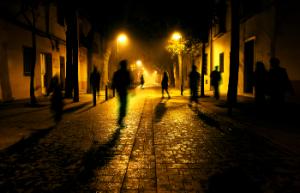 Shadows of people walking down the street 2