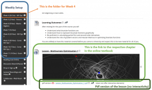 Screenshot illustrating sections on Blackboard