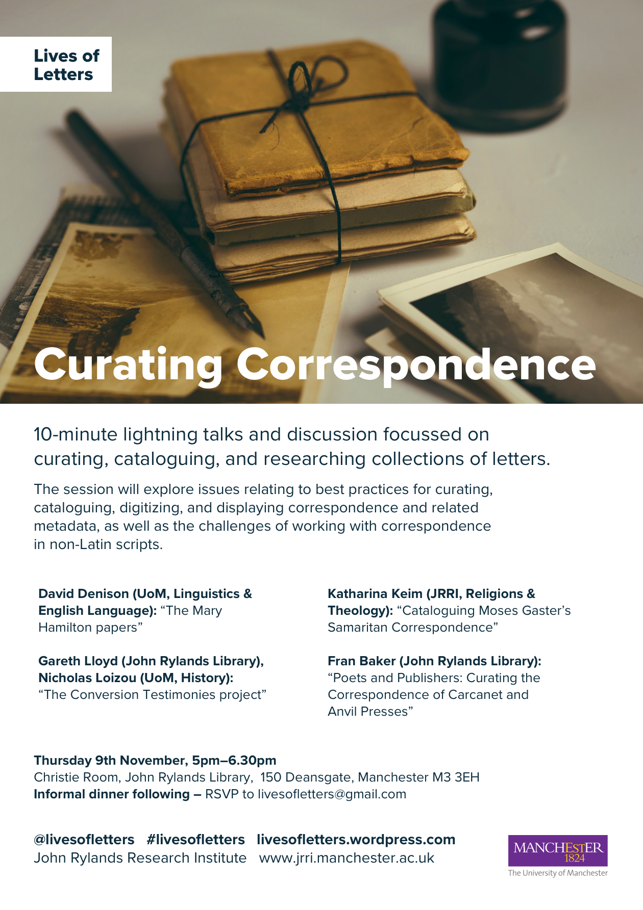 Lives of Letters Curating Correspondence 9 Nov 2017 web