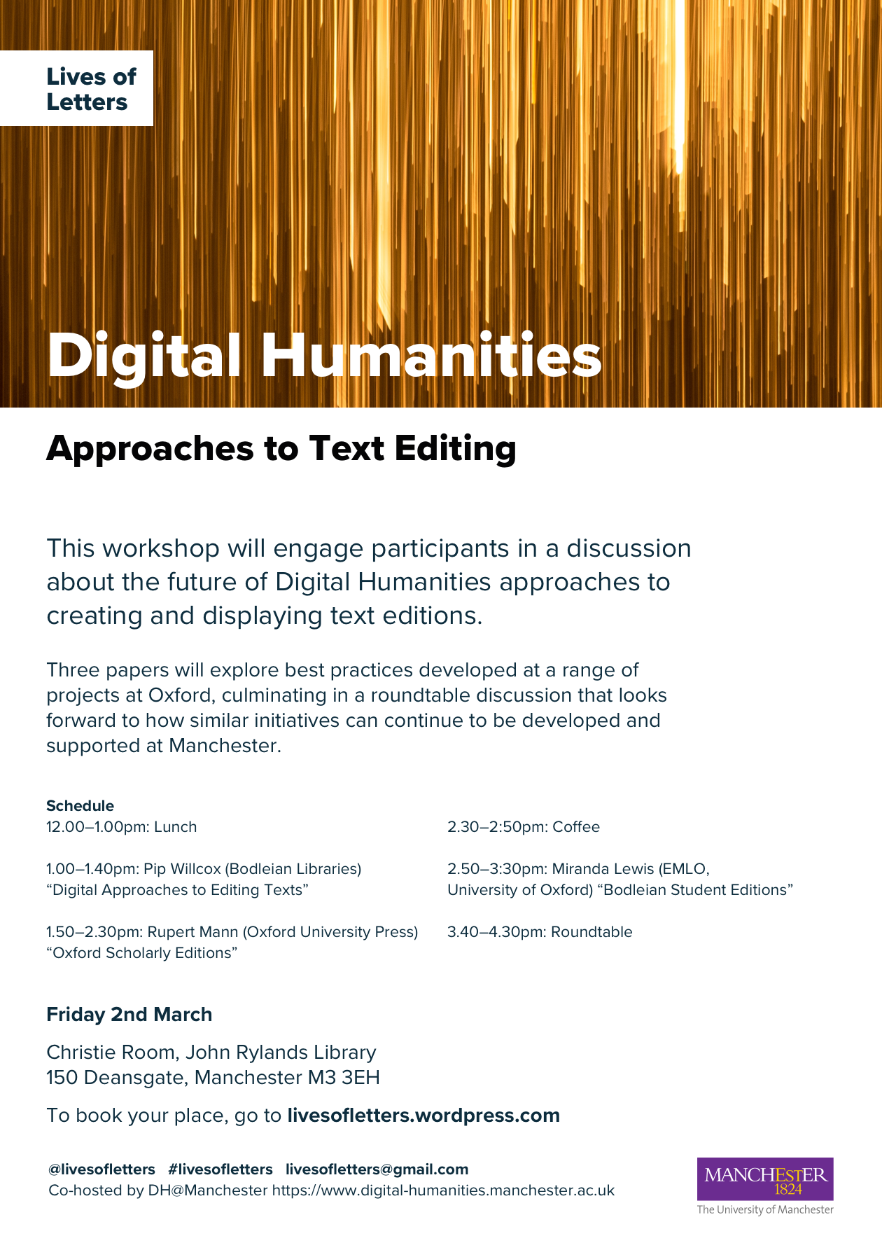Lives of Letters Digital Humanities event 2 March 2018 Print