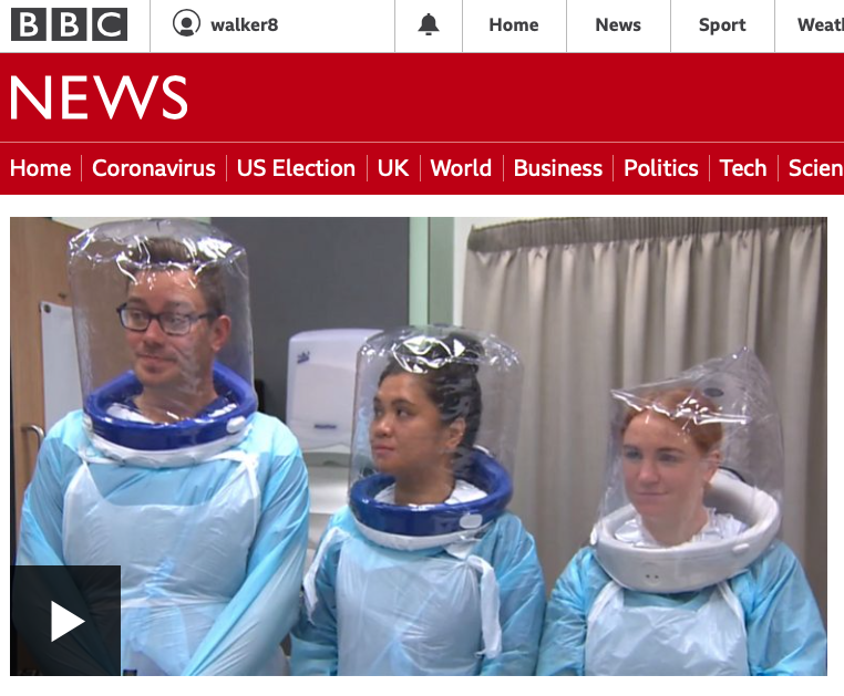 MACC team feature on BBC news testing innovative PPE for COVID-19