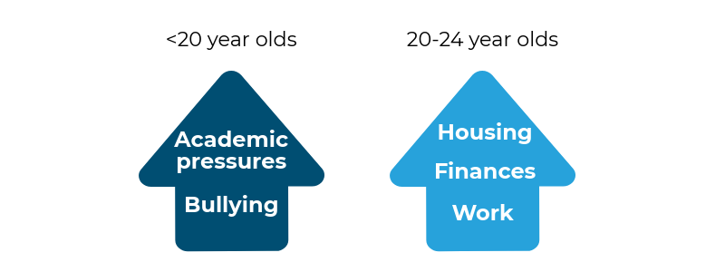 Academic pressures and bullying were more common before suicide by people aged under 20, while workplace, housing and financial problems were more often reported in young people aged 20-24.