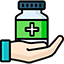 Graphic of a hand holding a bottle of tablets.