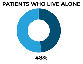 A chart showing there were 746 deaths per year by patients who lived alone, nearly half (48%) of all patient suicides.