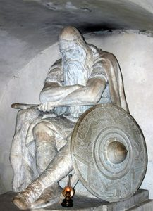 statue of King Arthur sleeping