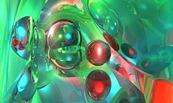 Bubbles of red and green in molten glass