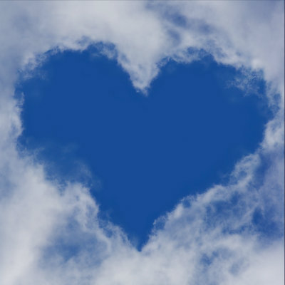 Picture of heart in clouds