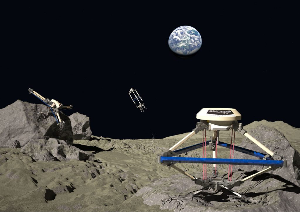 Illustration of jumping robots on the uneven surface of the moon