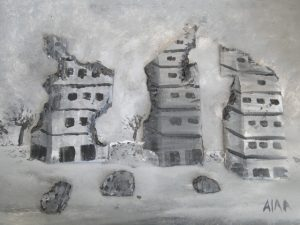 A Lebanese painting of bomb damaged buildings.