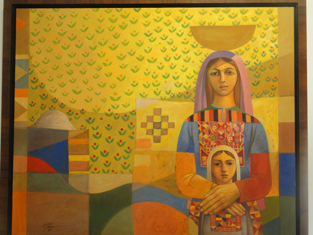 Lebanese mural of a woman and daughter