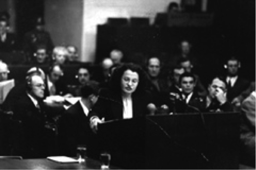 Goetz addressing the court at the Krupp trial at Nuremberg, Germany